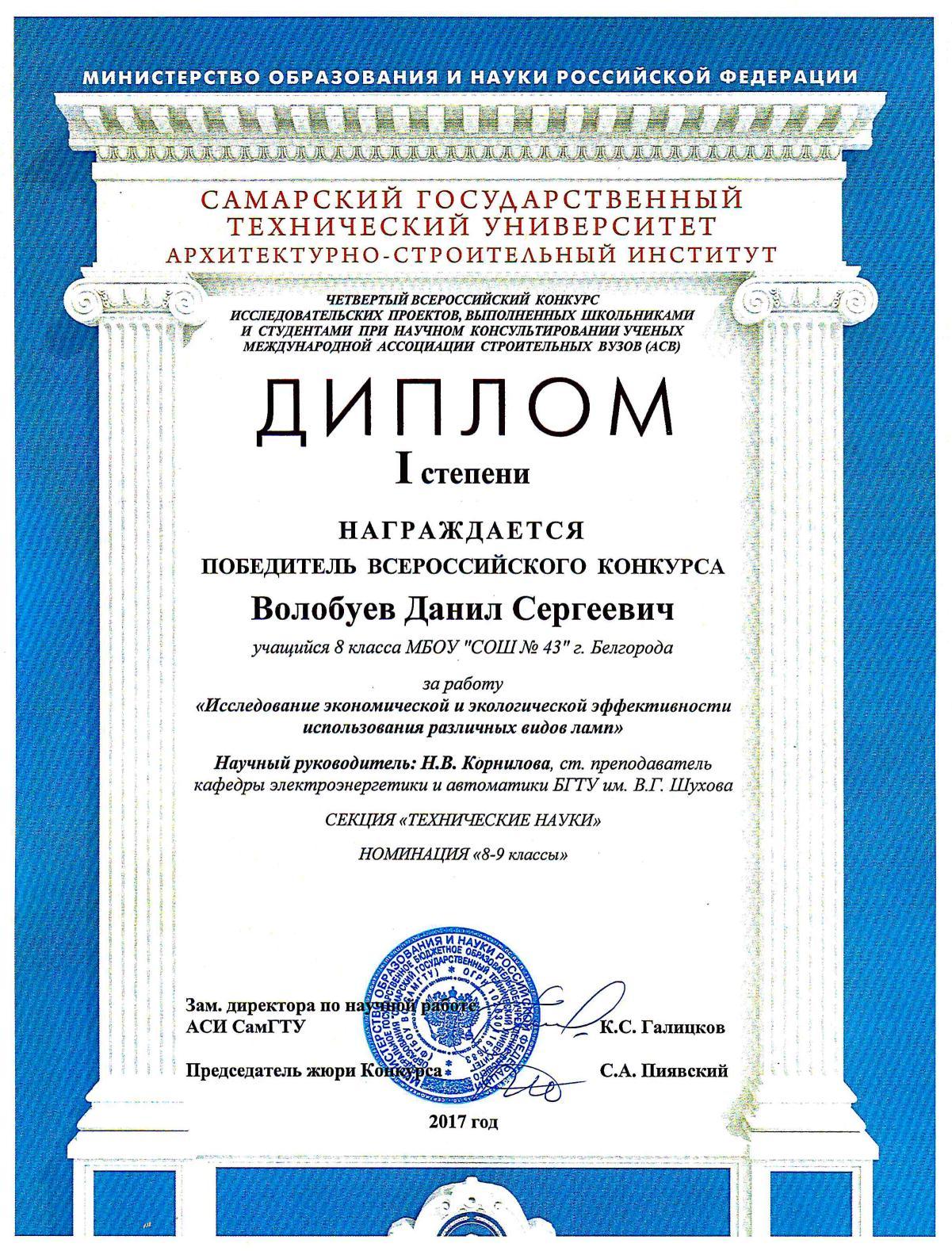 Всероссийский конкурс исследовательских проектов выполненных